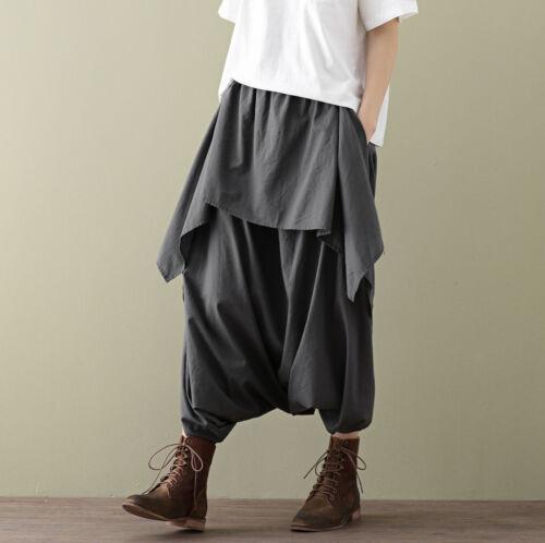 NEU Damen Übergröße ausgestellt Baggy gemusterte Hose weites Bein Tätowierung