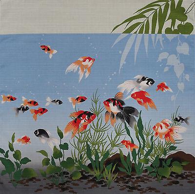 Furoshiki Wrapping Cloth Japanese Light Blue Kingyo Goldfish Fabric 50cm](Lighted Clothing)