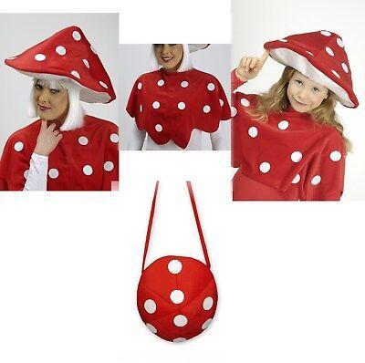 Fliegenpilz Glückspilz Hut Tasche Umhang für  Kinder Damen Herren Kostüm NEU
