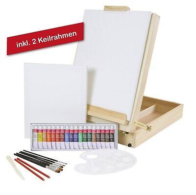 """XL MALSET """"Riva"""" mit gr. Tischstaffelei, Acrylfarben + 5er Pinsel + 2 Keilrahmen"""