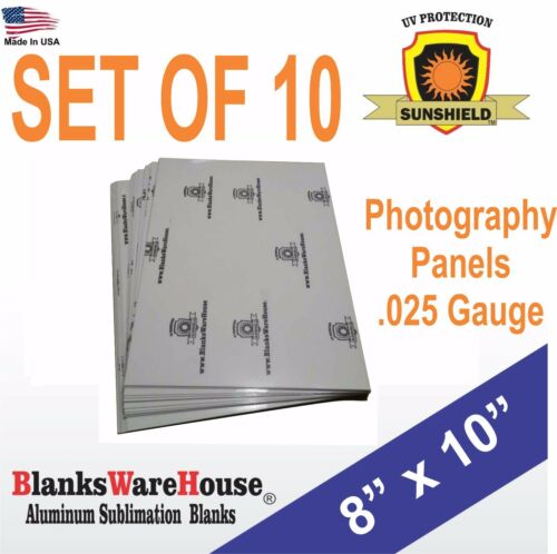 "8"" x 10""  Aluminum, sublimation, Photo Sheets, photo panels, .025 gauge / 10 PC"