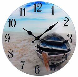 Glass Wall Clock Beach Boat 13 Home Wall Decor Marine Coastal