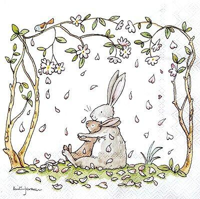 4 Lunch Paper Napkins for Decoupage Craft Vintage Napkin  I love you - Rabbits