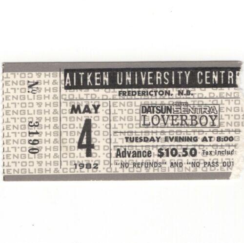 LOVERBOY & BRYAN ADAMS Concert Ticket Stub FREDERICTON NB CANADA 5/4/82 AITKEN U