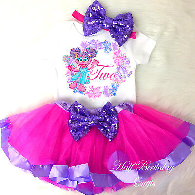 Abby Cadabby Pink Purple Tutu Shirt Headband 2nd Birthday Girl Outfit Set dress
