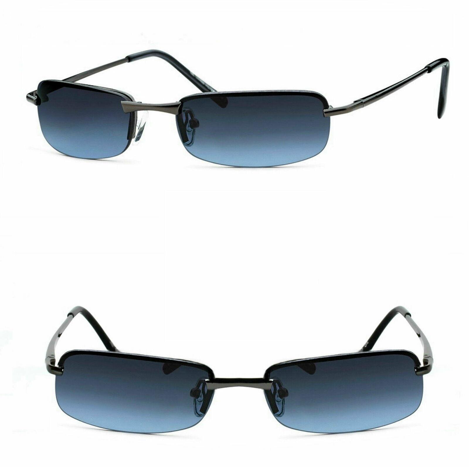Schmale Herren Sonnenbrille Metal Rechteckig Agent Smith Schwarz Blau getönt M5s