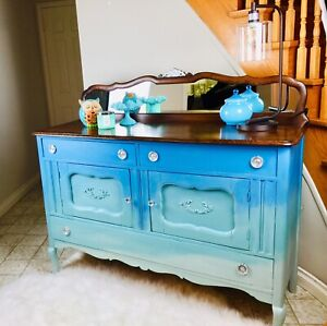 SOLD- Refurbished antique sideboard / buffet  shades of blue