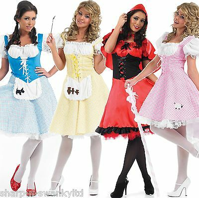 Damen Längere Länge Bo Peep Rotkäppchen Dorothy Kostüm Verkleidung 8-26