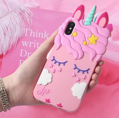 For iPhone X 8 7 Plus Girly Pink Cute Candy Unicorn Protective Phone Case Cover (Cute Candy)