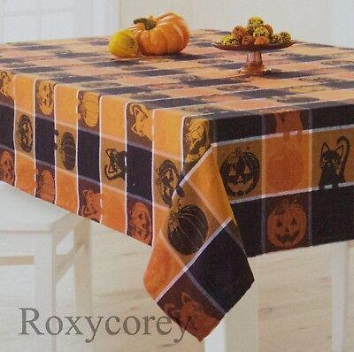 Celebrate Halloween Orange Black Pumpkin Cats Jacquard 60x102 Oblong Tablecloth - Cats Celebrating Halloween