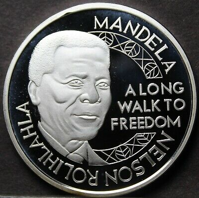 Nelson Mandela Silver Plated 45mm Proof Medallion~Long Walk To Freedom~Free Ship for sale  Shipping to South Africa
