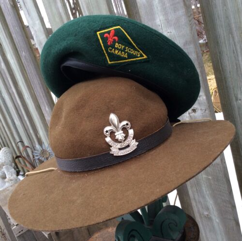 BOY SCOUTS CANADA - BERET And TROOP LEADER HAT VINTAGE BADGES