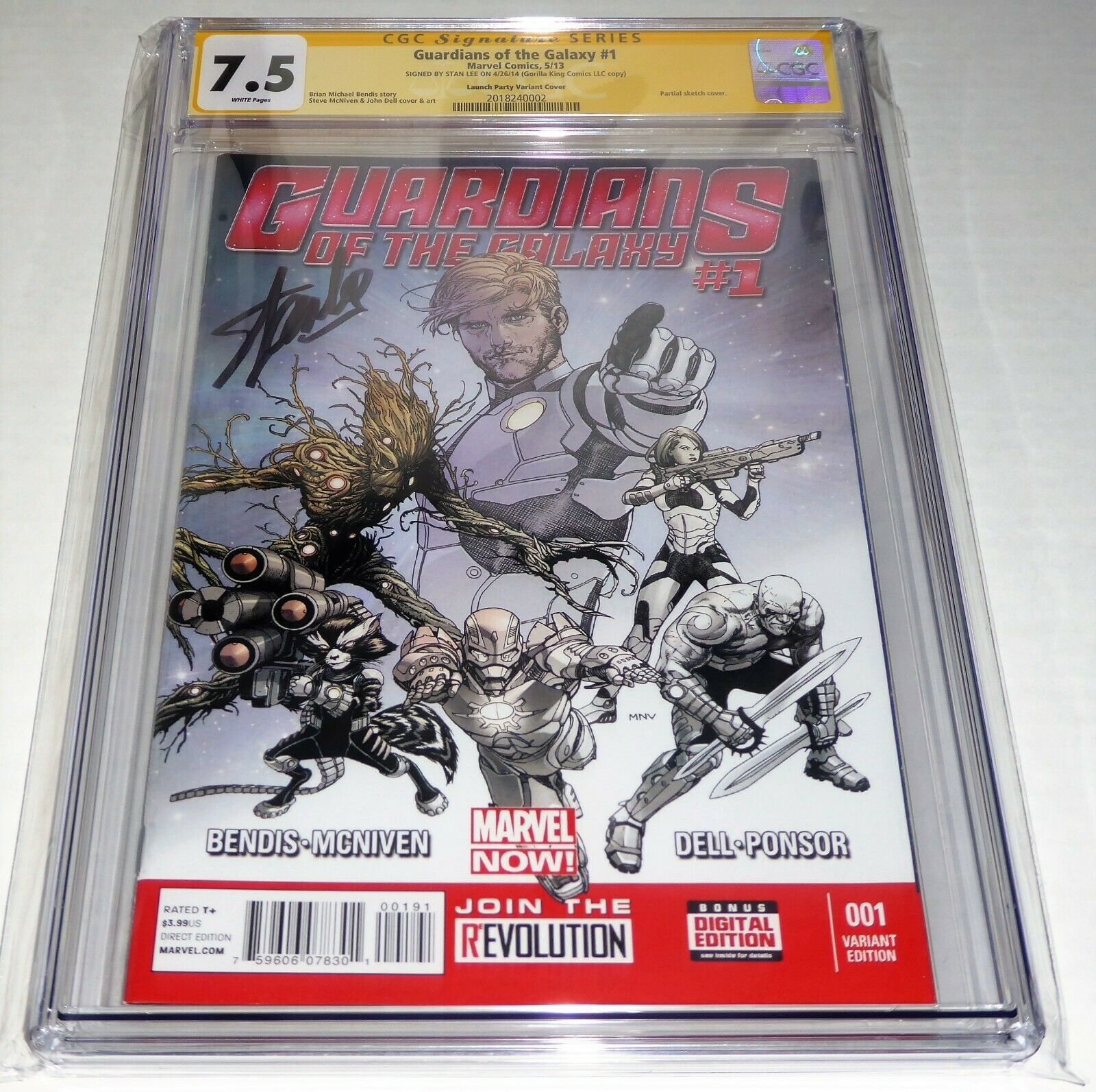 Guardians of the Galaxy #1 CGC SS Signature Autograph STAN LEE Gorilla King Copy