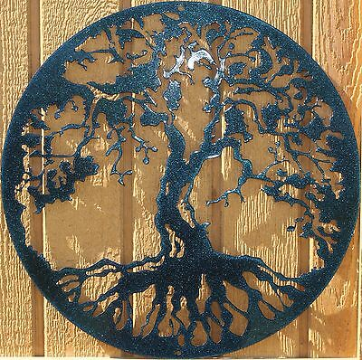 Tree of Life Metal Wall Art Home Decor Chameleon Teal ()