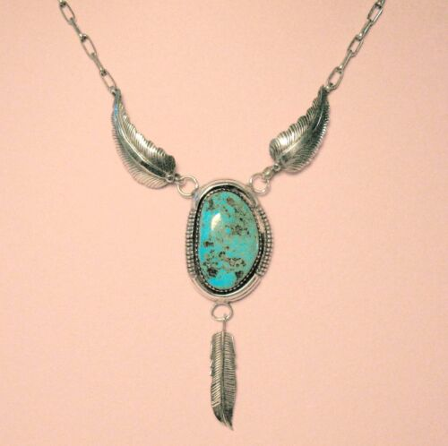 Vintage Navajo Sterling Silver Turquoise Necklace w/ Chain & Feather Details
