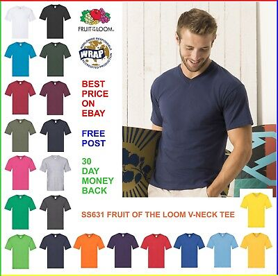 MENS V-NECK T-SHIRT Fruit of the Loom ORIGINAL TEE: 100% Cotton: 21 COLOURS
