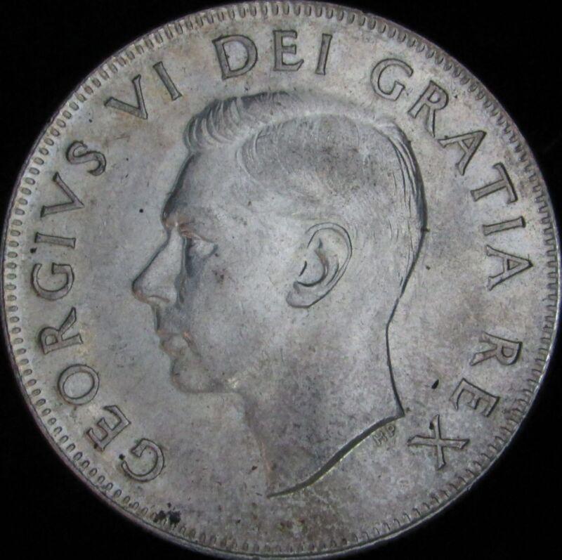 1951 Canada Silver 50 Cents (Fifty, Half) - KM# 45 - JG - AU