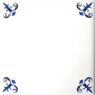 - Elegant Blue Delft Design Ceramic Tile Center Inlay 4.25