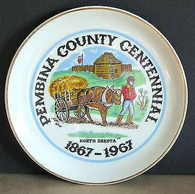 Fort Pembina County Centennial Nd 1875 1975 Plate Historical Oxcart Free Sh