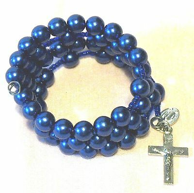 Rosary bracelet, blue Czech glass beads on memory wire ᴾ U2 Czech Glass Memory Wire Bracelet