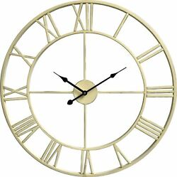 House of Durante The Oxford Skeleton Wall Clock 60cm Shabby Chic Ivory Finish