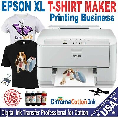EPSON PRINTER XL13X17 + COMPLETE START  PACK COTTON INK PRINT T-SHIRT MAKER  ..