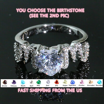 Mom Ring Personalized CZ Birthstone Heart Mother's Ring Gift for Mother's (Heart Mom Ring)