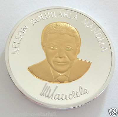 Nelson Mandela Two Tone Silver & Gold Plated Coin Medal South Africa Autographed for sale  Shipping to South Africa