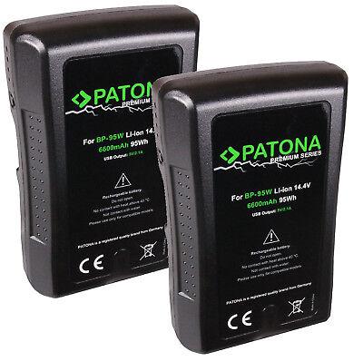 2 Akku BP-95WS V-Mount 95Wh 14,4V 6600mAh Patona für Sony D-Tap USB Ausgang 6600 Usb