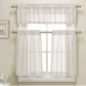 3 piece white sheer kitchen curtain set woven check design. Black Bedroom Furniture Sets. Home Design Ideas