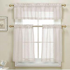 3 piece white sheer kitchen curtain set woven check design. Black Bedroom Furniture Sets. Home Design Ideas