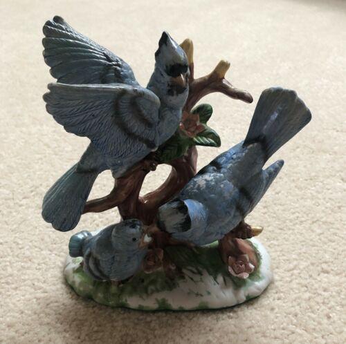 """Wellington Collection Porcelain Blue Jays Birds (7.75"""")"""