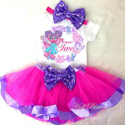 1st 2nd 3rd 4 5 6 7  Birthday Abby Cadabby Pink Purple Girl Tutu Outfit Headband - Abby Cadabby Headband