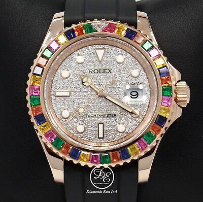 Rolex Yacht Master 116655 18K Rose Gold Diamond Pave Dial Sapphire Bezel B/PAPER