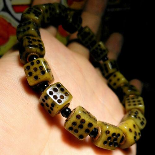 Tibetan antique dice prayer beads mala worry kapala old bracelet rosary ritual