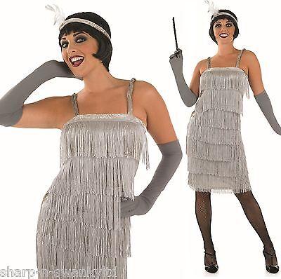 Damen Silber 1920er Jahre Gatsby Flapper Kostüm Kleid Outfit UK 8-30 Übergröße (1920er Jahren Flapper Kostüme Uk)