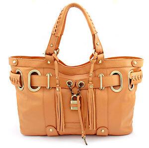 NEU:  BOVARI Whiskybraun Padlock Shopper echt Leder Damen Handtasche Ltd. Ed.