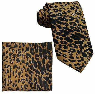 New Polyester Leopard Animal Print Formal Party Occasion Neck tie & Hankie Brown
