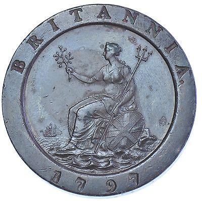 1797 CARTWHEEL TWOPENCE BRITISH COIN FROM GEORGE III EF
