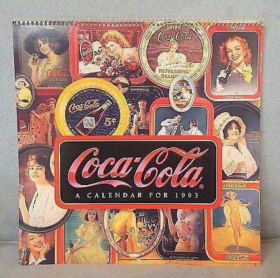 "11.5"" Spiral Bound COCA-COLA 1993 CALENDAR Collectible No writing/not used"