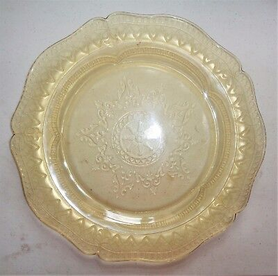 "Vintage PATRICIAN Depression Glass 1933-1937 Dinner Plate 11"" Diameter Yellow"