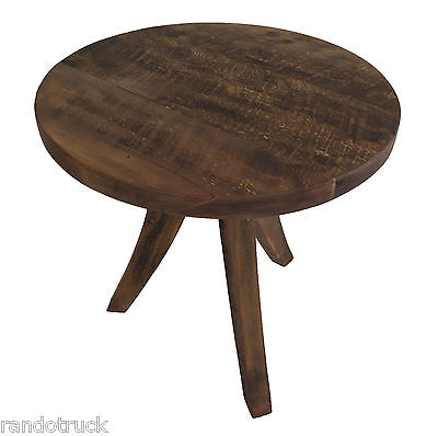"""Rustic Reclaim Barn Board Accent Table 16"""" round x 18"""" tall NEW"""