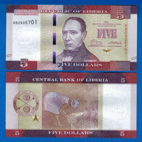 Liberia P-31 Five Dollars Year 2016 Uncirculated Banknote Africa