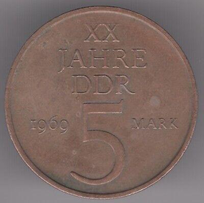 German Democratic Republic 5 Mark 1969 Nickel-Bronze Coin - 20th Anniversary DDR