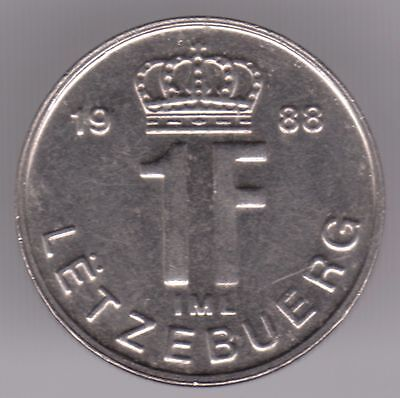 Luxembourg 1 Franc 1988 Nickel Plated Steel Coin - Grand Duke Jean