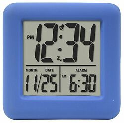 70905 Equity by La Crosse Soft Cube LCD Digital Alarm Clock - Blue
