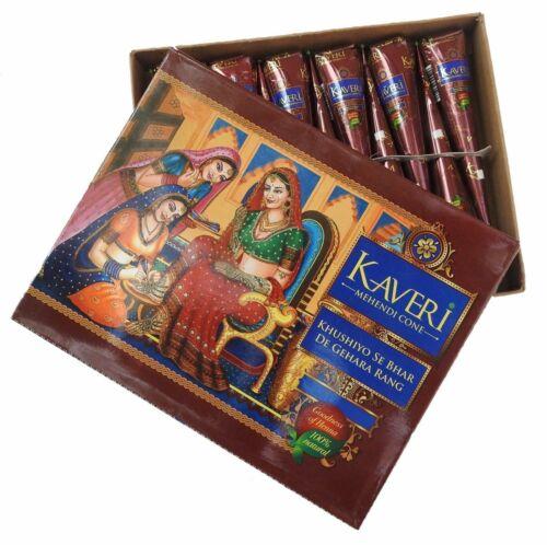 Kaveri Natural Herbal Henna Cones Temporary Tattoo 12 Cones Free Bindi Fwd Usa