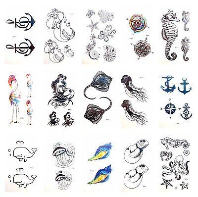 US SELLER, 15 sheets temporary sea animal octopus shells Tattoos Decoration - Sea Animal Tattoos