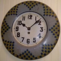 Antique Japy Freres French Provincial Tin Wall Clock 8-Day Key-Wind * Rare 1890s