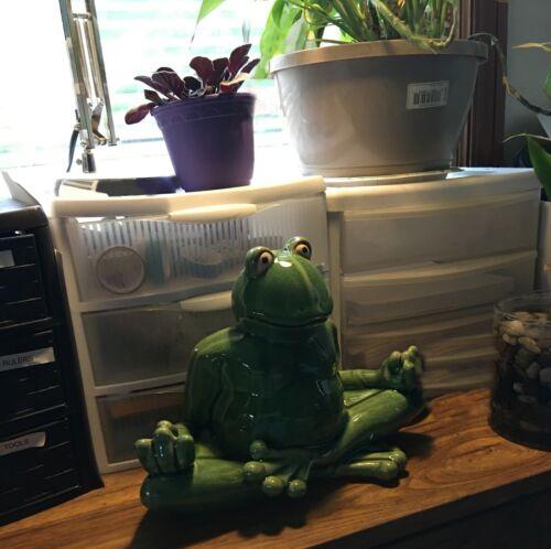 "Whimsical Meditating Yoga Green Frog Home Garden Statue 11""W"